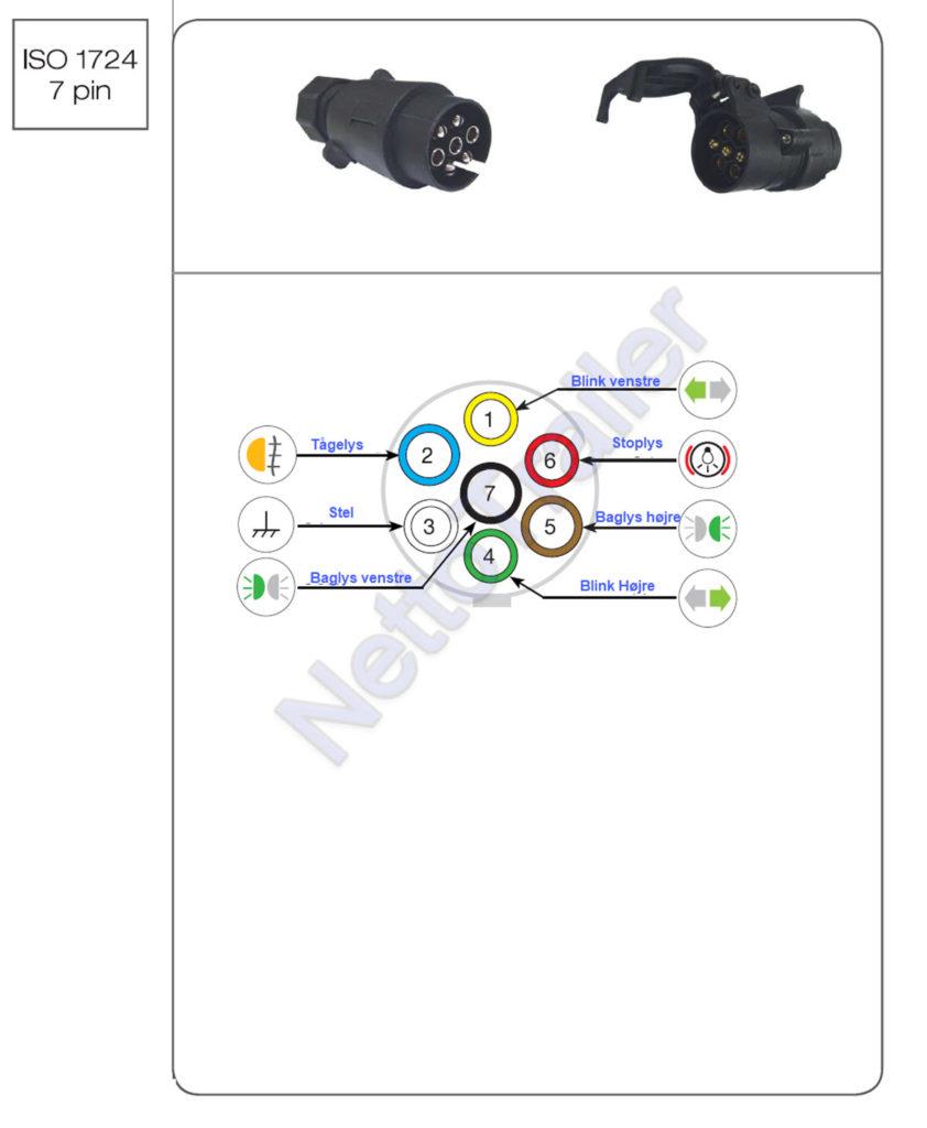 Diagram over 7 polet anhængerstik | montering af 7 polet trailerstik